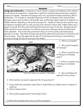 Monopoly/ Trust Political Cartoon Worksheet with Answer Key