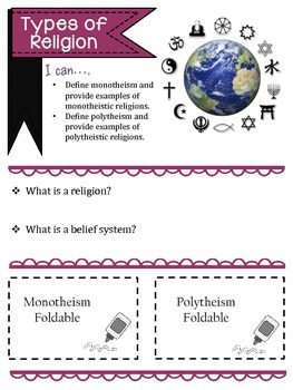 Monotheism and Polytheism Foldables