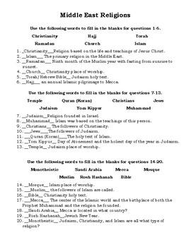 Monotheistic Religion Quiz or Worksheet