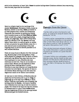 Religions: Monotheistic Bundle Pack (Reading Summaries & G