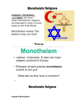 Graphic organizer & Quiz :  Judaism, Christianity, and Islam