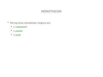 Monotheistic Religions PowerPoint