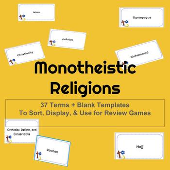 Monotheistic World Religions Vocabulary Cards, Display & Activities