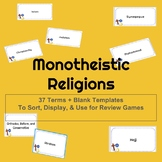 Monotheistic World Religions Vocabulary Cards, Display & A