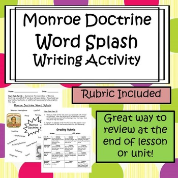 Monroe Doctine Writing Activity - Word Splash