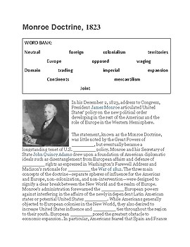 Monroe Doctrine --  CLOZE Reading