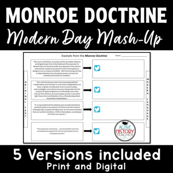 Monroe Doctrine - Modern Day Mash-Up!  (plus emoji exit ticket)