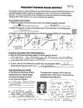 Monroe Doctrine - One Pager (& ANSWER KEY)