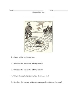 Monroe Doctrine Political Cartoon Worksheet and Answer Key