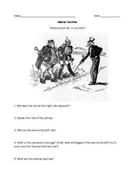 Monroe Doctrine Political Cartoon Worksheet ans Answer Key ...