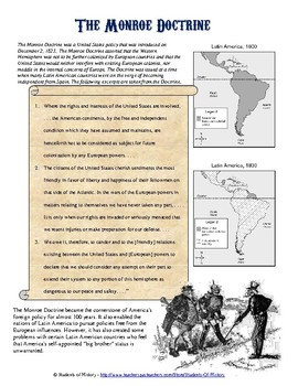 Monroe Doctrine Primary Source Analysis