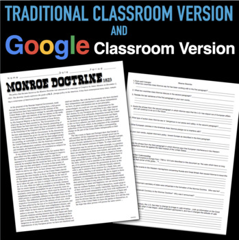 monroe doctrine worksheet switchconf monroe doctrine primary source worksheet by burt brock s big ideas