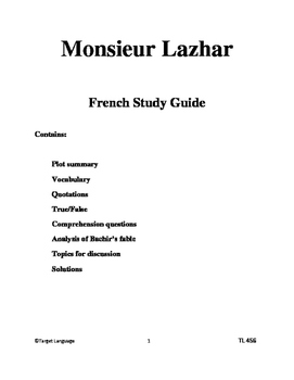 Monsieur Lazhar Study Guide