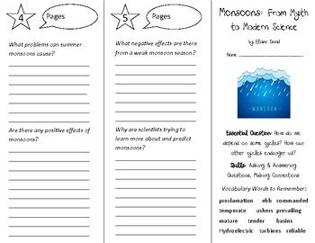 Monsoons: From Myth to Modern Science Trifold - Open Court 5th Gr Un 2 Lesson 1