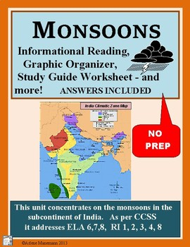 MONSOONS IN INDIA Informational Reading & Activities
