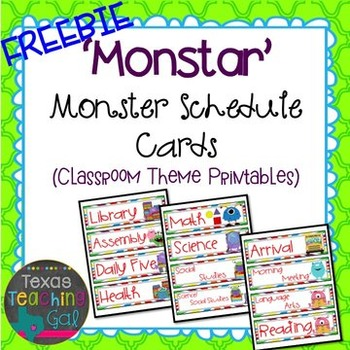 'Monstar' Monster Schedule Cards [FREEBIE]