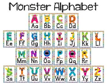 monster alphabet posters by learning early 4 early learners tpt