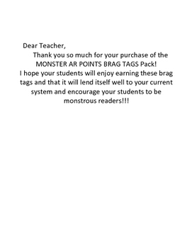 Monster AR 5 to 15 Points Accelerated Reader Reading Brag Tag Reward Classroom