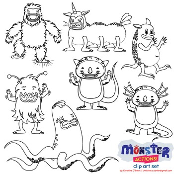 Monster Actions! Clip Art Set