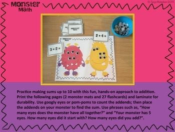 Monster Addition Mats and Flashcards