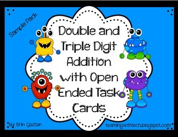 Freebie! Sample Monster Addition Practice and Task Cards