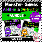 Monster Addition and Subtraction Games Bundled