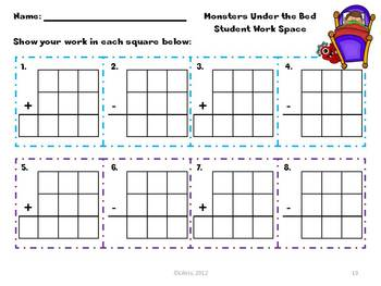 Monster Addition and Subtraction Match-Up Centers