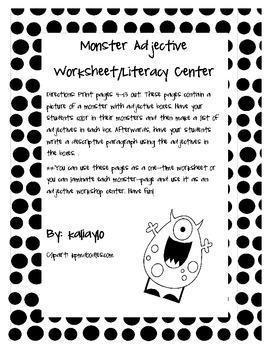 Monster Adjective Worksheets/Workshop Center (black and white)