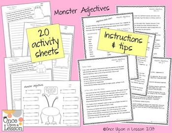 Fun Monster Adjectives - writing & using adjectives with grades 3 to 5