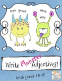 Fun Monster Adjectives - writing & using adjectives with g