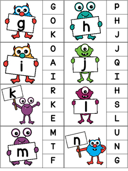 Monster Alphabet Clip Card Activity