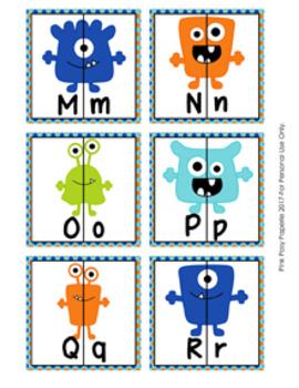 Monster Alphabet Letter Match Puzzles