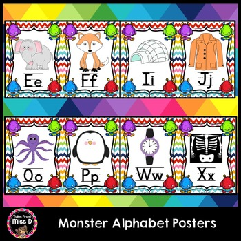 monster alphabet posters by tales from miss d teachers pay teachers