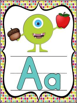 Monster Theme Alphabet Posters