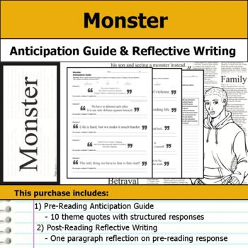 Monster by Walter Dean Myers - Anticipation Guide & Reflection Writing