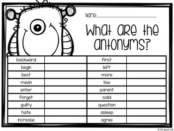 Antonym Matching Game and Worksheets