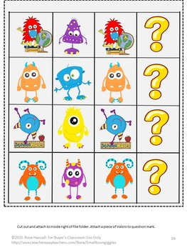 Monsters Math & Literacy File Folder Games Autism Special Education