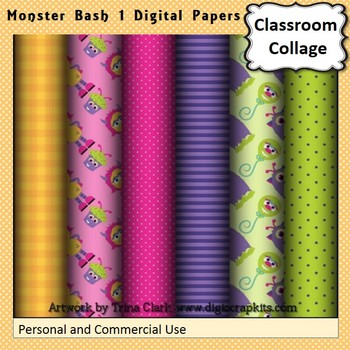 Monster Bash 1 Party Digital Papers Set Color  personal &