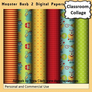 Monster Bash 2 Party Digital Papers Set Color  personal &