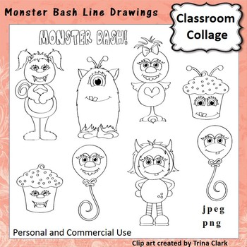 Monster Bash Clip Art b/w line drawings   personal & comme