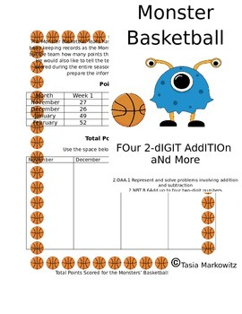 PRINTABLE Monster Basketball Addition with Four -  2 digit