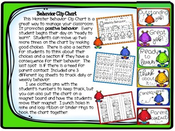 Monster Behavior Clip Chart