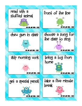 Monster Behavior Coupons - Classroom Management Positive Reinforcement