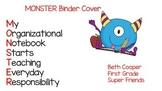 Monster Binder or Daily Folder Cover Sheet
