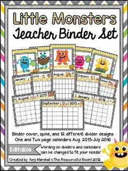 Monster Theme Editable Teacher Binder/Calendar Set