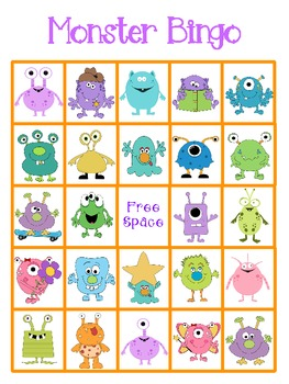 Monster Bingo 5 Cards
