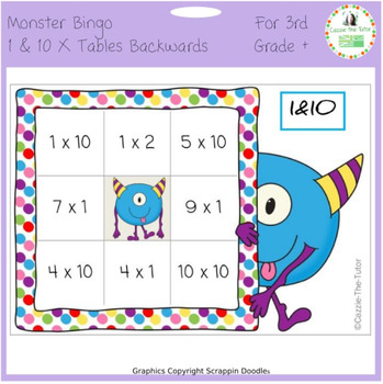 Times Tables Monster Multiplication Bingo: 1 & 10 x Backwards