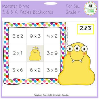 Times Tables Monster Multiplication Bingo: 2 & 3 x Backwards