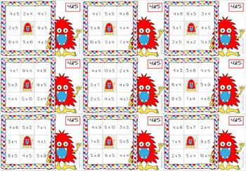 Times Tables Monster Multiplication Bingo: 4 & 5 x Backwards
