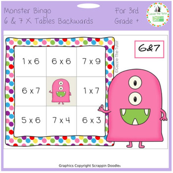 Times Tables Monster Multiplication Bingo: 6 & 7 x Backwards